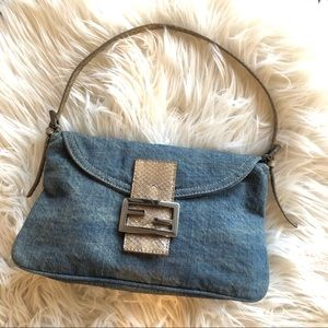 FENDI Denim Baguette Leather Gunmetal bag purse